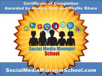 Social Media Manager School Certificate of Completion