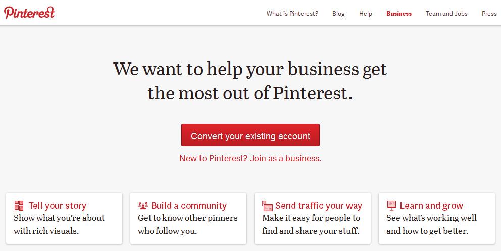 Pinterest convert existing account
