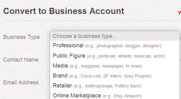 Pinterest choose business type