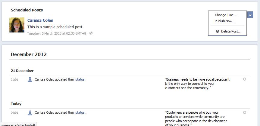 change Facebook activity log
