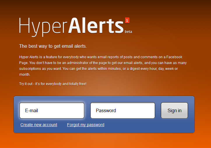 Hyper Alerts create account