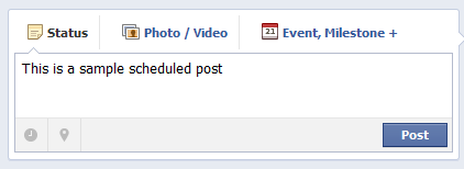 Facebook sample scheduled post