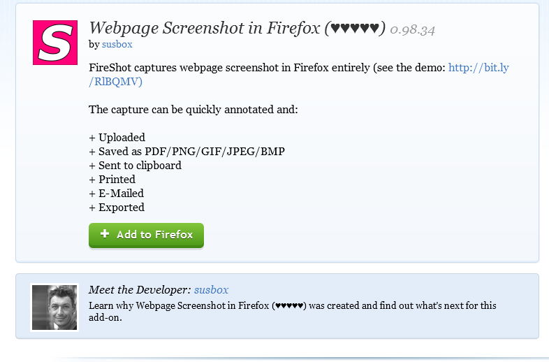 webpage screenshot fireshot firefox