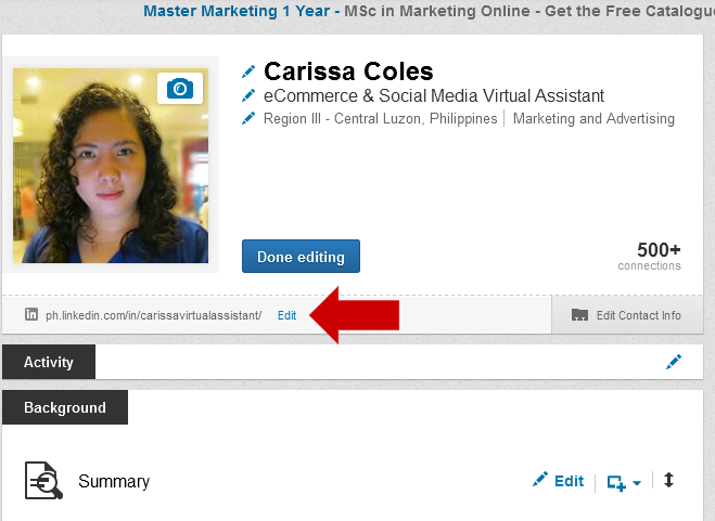 Edit LinkedIn Public Profile URL