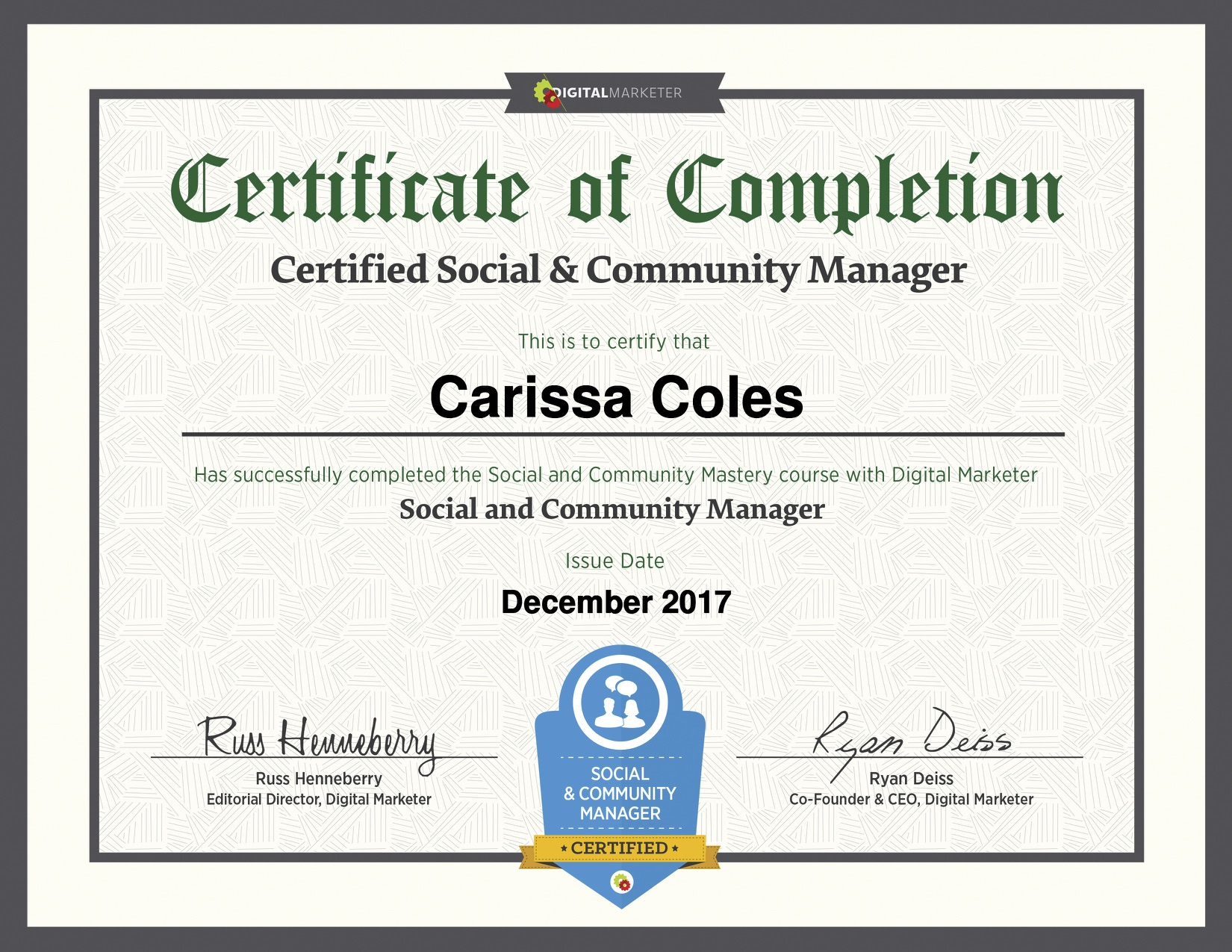 digital marketer social media and community manager certification