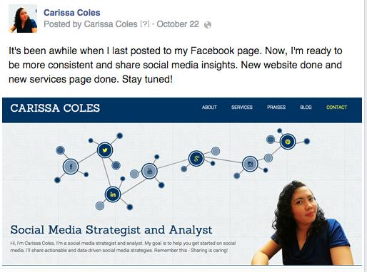 facebook post new blog launch